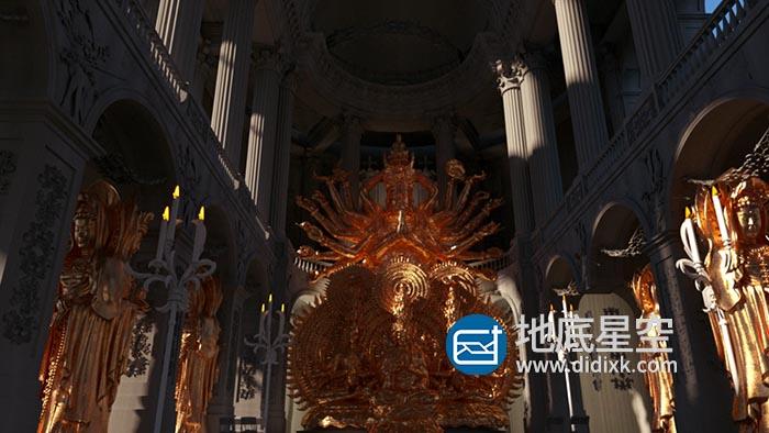 3D模型-C4D OCTANE教堂佛像千手观音塑像模型