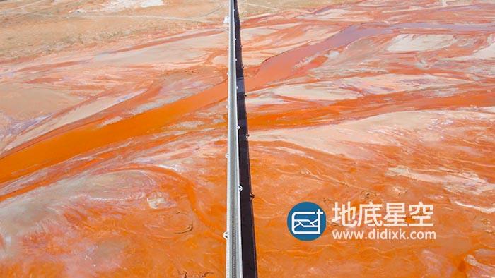 视频素材-青海红色河谷大地之血硫元素地标河流