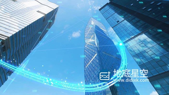 视频素材-特效合成光线粒子划过科技感建筑