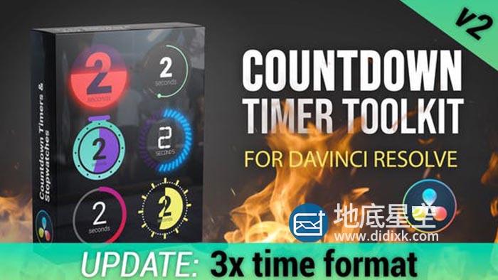 达芬奇预设-秒表倒计时数字动画 Countdown Timer Toolkit