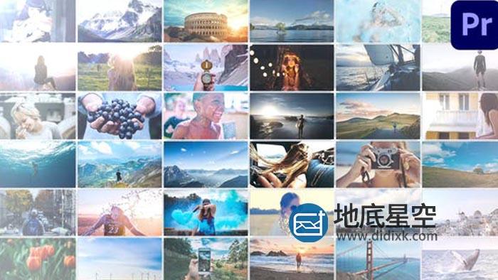 AE模板+PR预设-图片幻灯片照片墙动态拼贴网格动画
