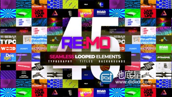 AE模板-45组创意文字标题排版无限循环背景动画 REMO – Looped Elements