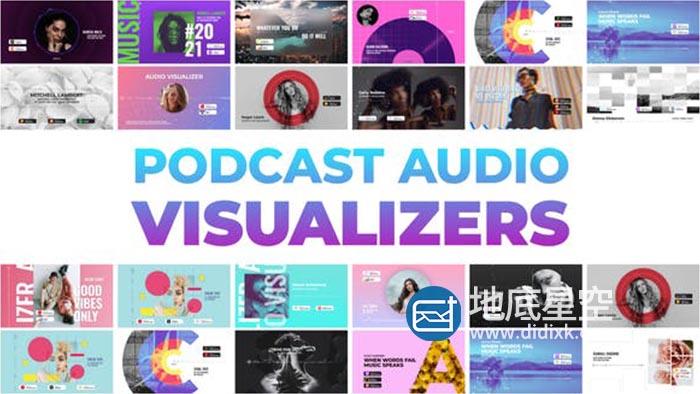 AE模板-广播音乐音频可视化播放器波形动画 Podcast Audio Visualizers