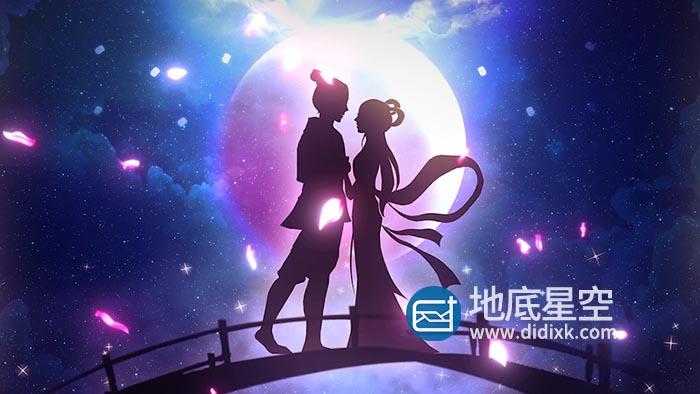 视频素材-唯美浪漫鹊桥相会七夕情人节爱情主题循环背景