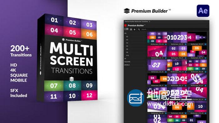 AE脚本-200组视频动态分屏多窗口信号故障过渡转场预设 Multiscreen Transitions