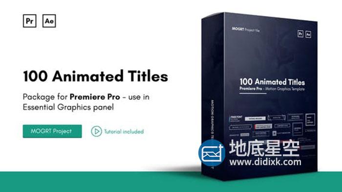 AE模板+PR预设-100种现代干净独特的文字标题图形排版动画 Mogrt Titles V2 Animated Titles