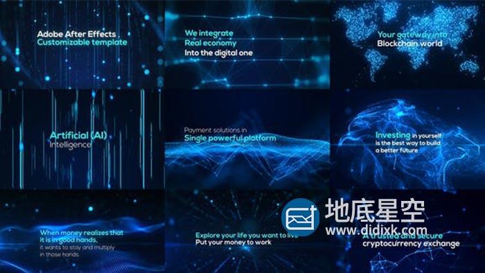 AE模板-未来派科技感抽象点线粒子背景信号故障文字标题开场片头 Digital Particle World – Form Plexus