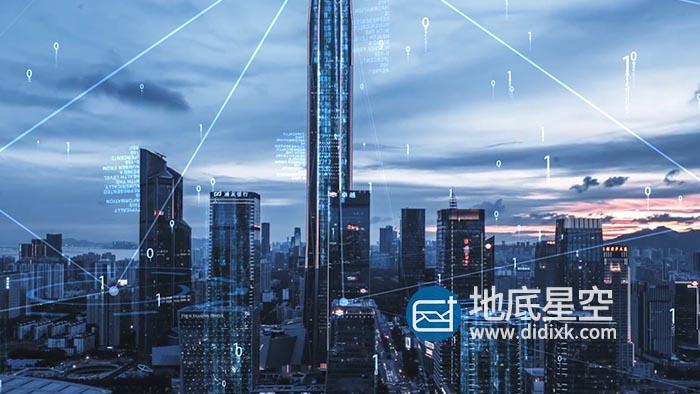 AE模板-大气互联网点线连线科技城市视频素材