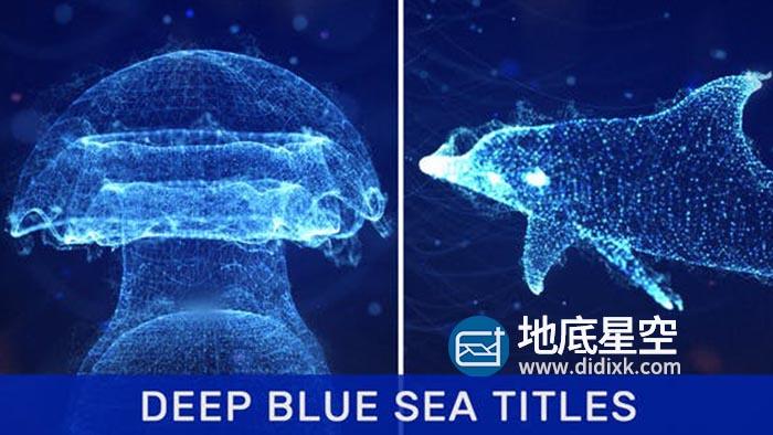 AE模板-抽象蓝色海洋点线粒子三维海豚动物图形文字标题动画 Deep Blue Sea Titles