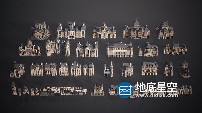3D模型-法国巴黎哥特式建筑欧洲复古建筑城堡塔别墅庄园房子C4D模型
