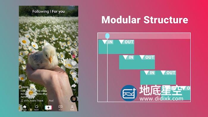 AE模板-炫酷粉红色的界面模拟在抖音APP里刷短视频并点赞的动画
