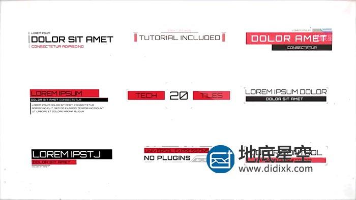 AE模板-未来科技感信息图表节目文字标题排版动画 Cinematic HUD Titles