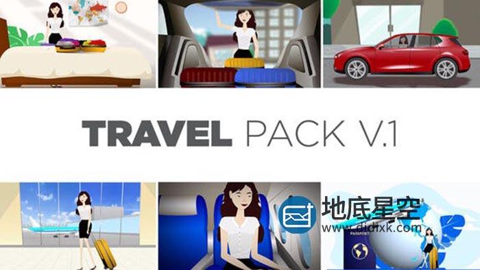 AE模板-卡通人物做飞机汽车旅游人物场景MG动画片头 Travel Pack V1