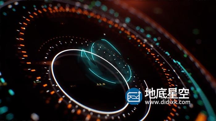AE模板-未来派高科技感图形标志失真Logo动画 HUD Logo Reveal