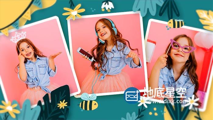 AE模板-卡通儿童照片视频相册生日祝福片头 Happy Birthday Kayla
