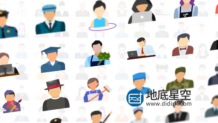 AE模板-专业人士工作人物头像图表动画 100 Human Avatars Icons