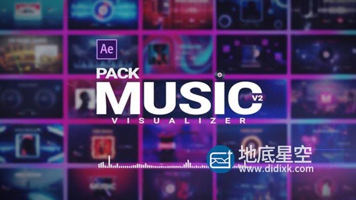 AE模板-16组现代时尚音乐波形音频频谱可视化节奏感动画 Music Visualizer Pack V2